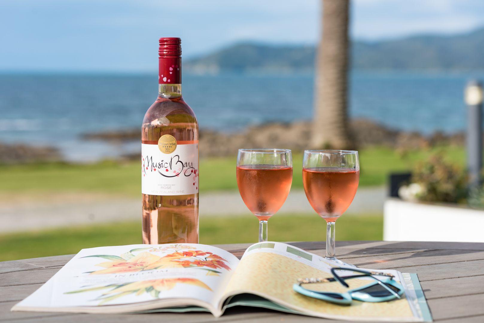 Music Bay wine at the Golden Sand beachfront accommodation